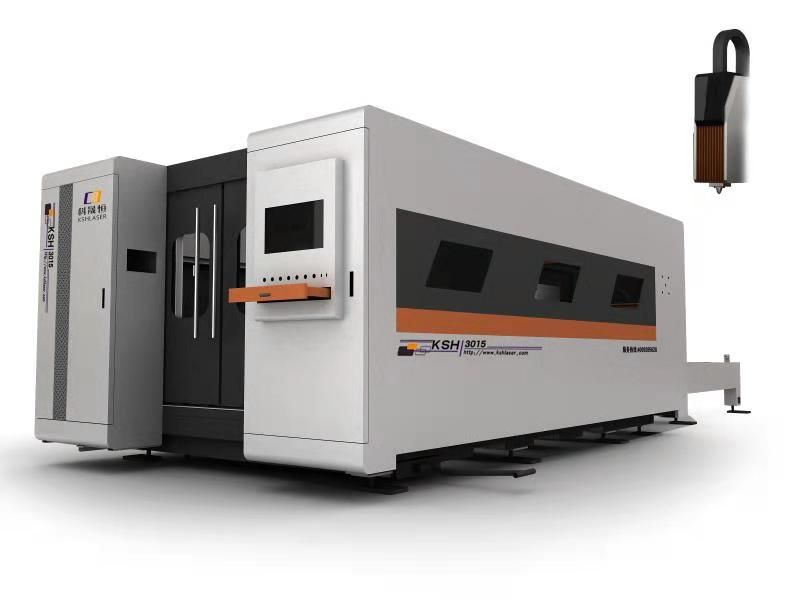 Fully enclosed switched optical fiber laser metal cutting machine